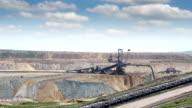 excavator digging on open pit coal mine video