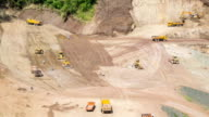 excavator on a construction site working on a pile of gravel. General construction scene video