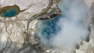 Excelsior Geyser  - Aerial View - Wyoming,  Teton County,  helicopter filming,  aerial video,  cineflex,  establishing shot,  United States video