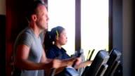 Excercising Gym Health Club Fitness Thai Woman Caucasian Male video