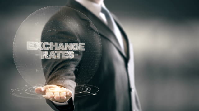 Exchange Rates with hologram businessman concept video