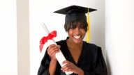 Excited black woman graduate video