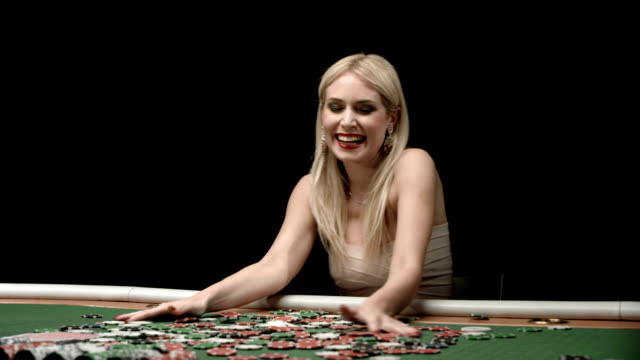 HD DOLLY: Excited Woman Throwing Gambling Chips video