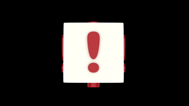 Exclamation marks on rotating cube. video