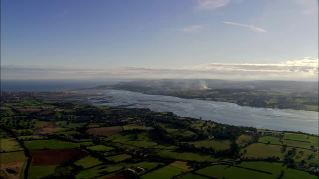 Exe Estuary  - Aerial View - England, Devon, East Devon District, United Kingdom video
