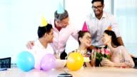 Executives celebrating a colleague birthday video