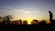 exercise silhouette in the country in the sunset video