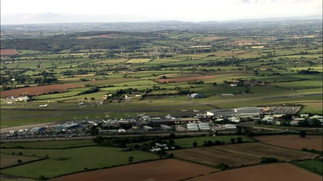 Exeter airport - Aerial View - England, Devon, East Devon District, United Kingdom video