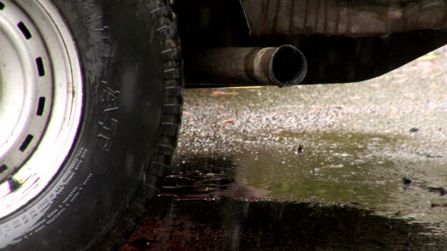 HD: Exhaust pipe in the rain video