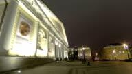exhibition hall Manezh on Manezhnaya square winter night timelapse hyperlapse, Moscow, Russia video