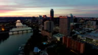 Expanding Vast Viewpoint urban technology Dramatic Sunset Aerial Drone View Austin Texas video