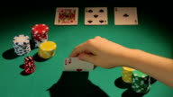 Experienced gambler using risky bluff strategy to win more money video