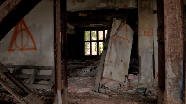 CLOSE UP: Exploring decaying dark rooms in big abandoned hotel in ghost town video