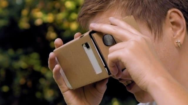 Exploring virtual reality in cardboard VR glasses video