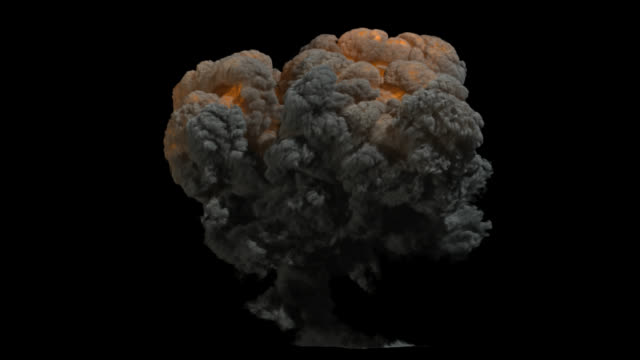 Explosion mushroom blast VFX element with perfect alpha channel matte. video