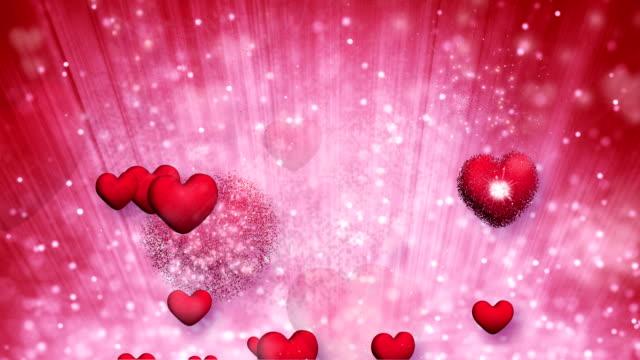 explosive red hearts bursting loop video