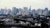 expressway traffic in Bangkok cityscape video