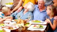Extended family at dinner posing video