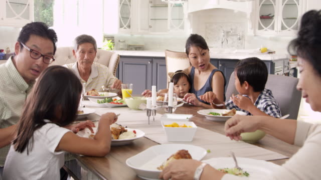 Extended Family Group Eating Meal At Home Shot On R3D video