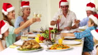Extended family toasting at christmas dinner video