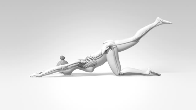 Extended Puppy Pose Of Stretching Female With Visible Skeleton video