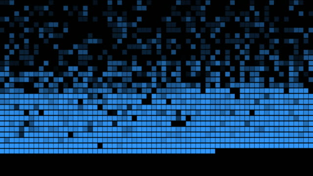 Extreme abstract grid digital background with rectangles lines and shades of blue 4K video