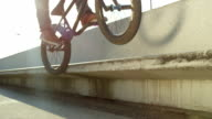 SLOW MOTION CLOSE UP DOF: Extreme bmx biker jumping on bench and peg grinding video