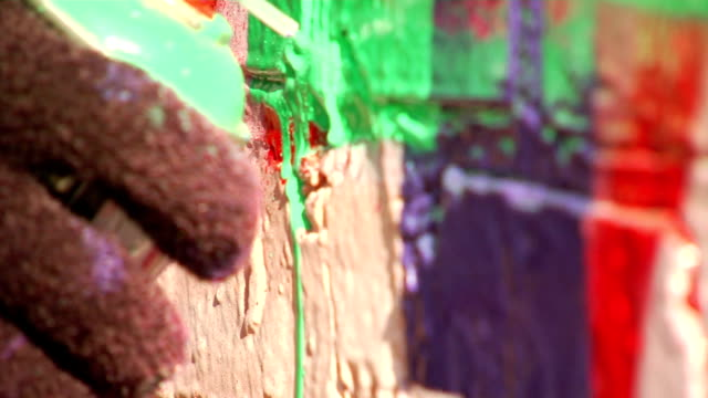 Extreme Close Up of Spray Can Drip from Graffiti Art video