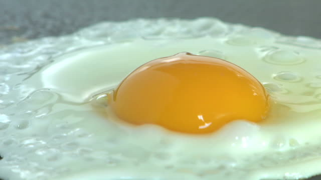 Extreme close-up of an egg frying. video