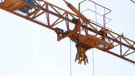 Extreme close-up of tower crane hoisting mechanism video