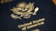 Extreme CU Dolly Shot of USA Passport, Shallow DOF video