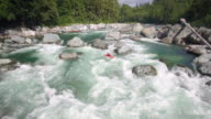 Extreme Kayaker Flowing Down River Filmed with Drone Flying Backwards video
