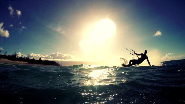 Extreme Kitesurfing at Sunset. video