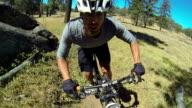 POV Extreme Mountain Biker Riding on Trail video