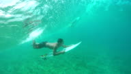 SLOW MOTION UNDERWATER: Extreme pro surfer duck diving big wave video