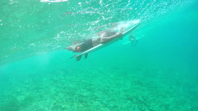 SLOW MOTION UNDERWATER: Extreme pro surfer paddling over big wave towards lineup video