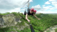 Extreme zip-lineing video