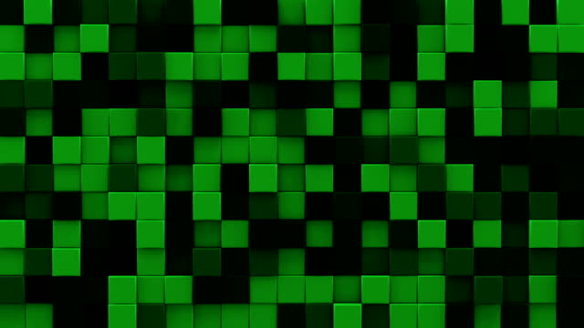 Extruded dark green cubes 3D render loopable animation video