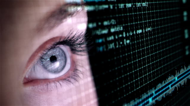 Eye looking at head-up display (Full HD) video