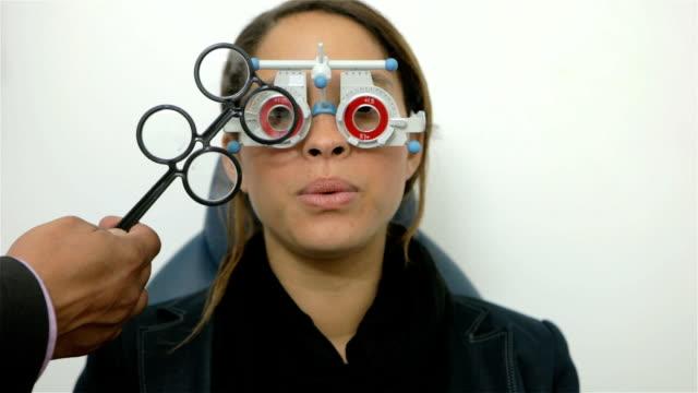 Eye test in opticians video
