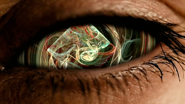 Eye zoom into iris with abstract neural dust video
