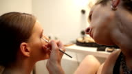 Eyes Make-up In Studio Woman Model On Photo Shooting video