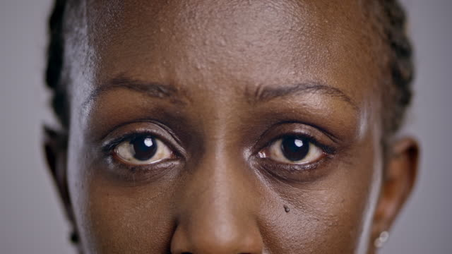 Eyes of a sad African-American woman video