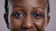 Eyes of an African-American woman blinking video