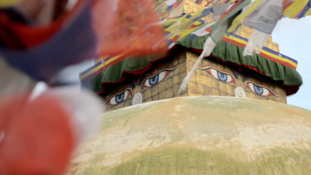 Eyes of Boudhanath and prayer flags video