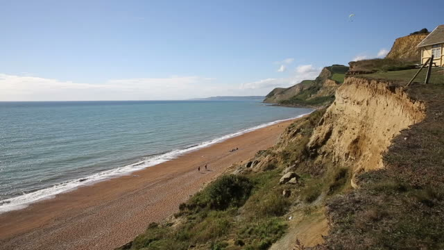 Eype beach Dorset England uk near West Bay with hang glider video