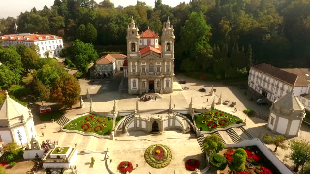 Facade of Bom Jesus do Monte, Braga, Portugal aerial view video