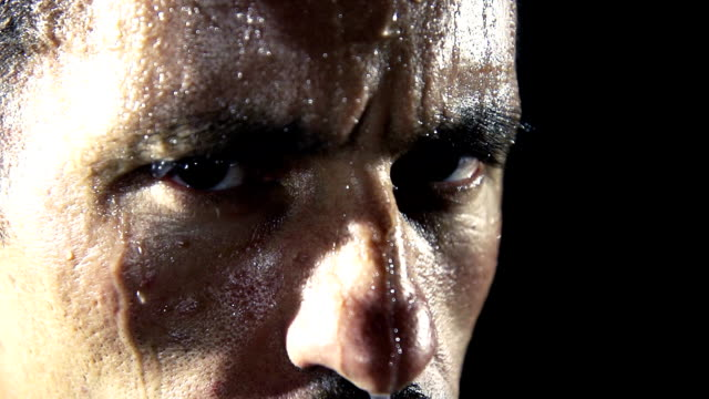 HD SUPER SLOW MO: Face All Covered With Sweat video