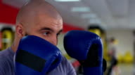 Face closeup of man in boxing gloves punching sparring partner during workout video