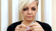 Face CloseUp of Young Girl Holding Syringe video